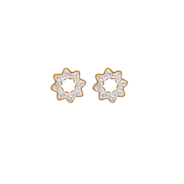 Earrings Stainless Steel 316L in Gold Color with White Rhinestones