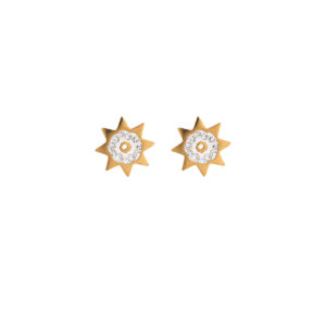 Gold Color Earrings Stainless Steel 316L with White Rhinestones