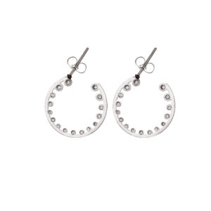 Earrings Stainless Steel 316L with 20mm Rhinestones in Silver Color