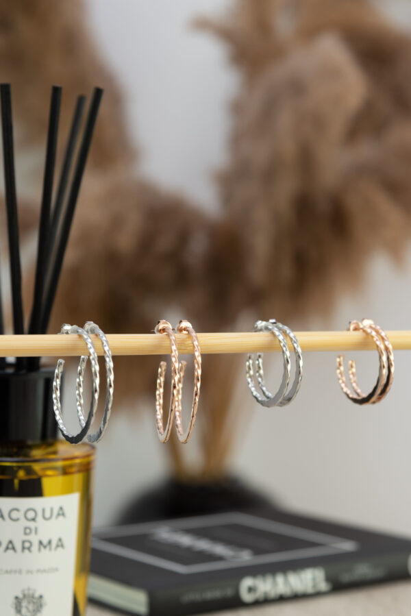 Pink Gold 30mm Earrings Stainless Steel 316L