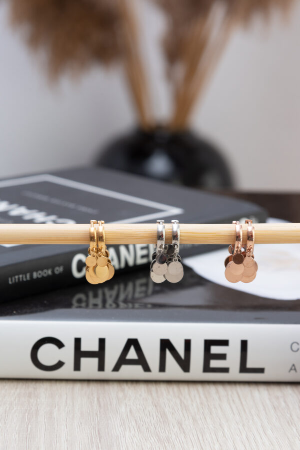 Earring Stainless Steel 316L in Gold Color with Hanging Elements