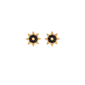 Small Earrings Stainless Steel 316L in Gold Color with Black Rhinestones