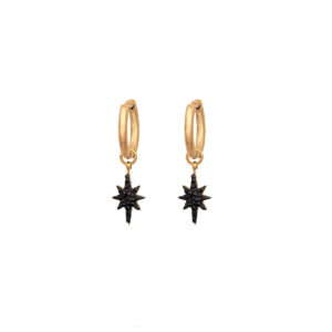 Star Hanging Earring Stainless Steel 316L in Gold Color with Black Rhinestones