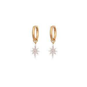 Star Hanging Earring Stainless Steel 316L in Gold Color with White Rhinestones